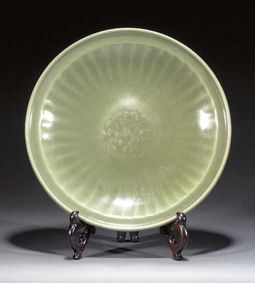 A Ming celadon glazed charger