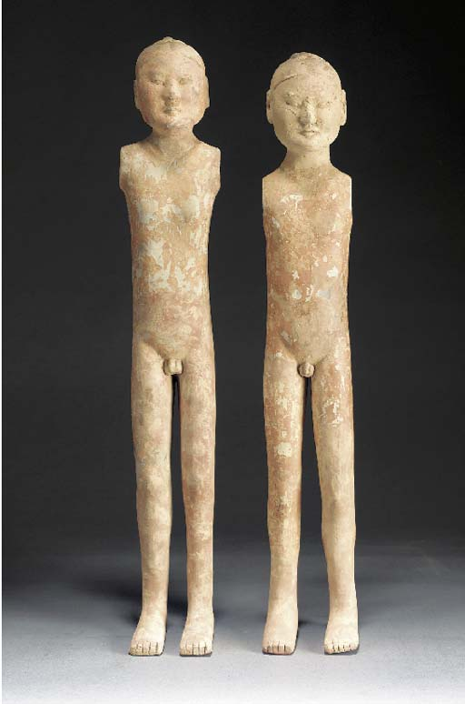 A pair of pottery stick figure