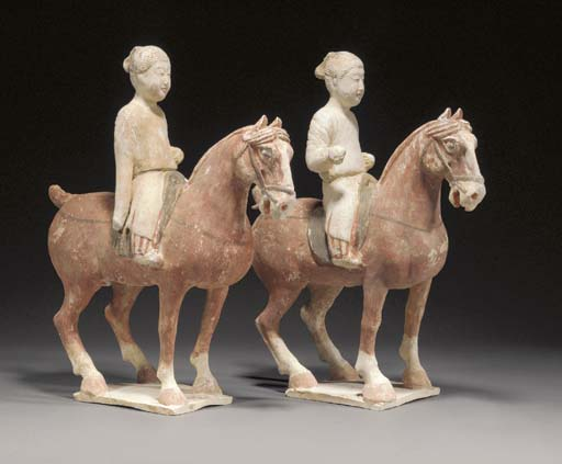 A pair of Tang pottery horses