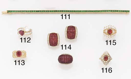 A CALIBRÉ RUBY AND DIAMOND RIN