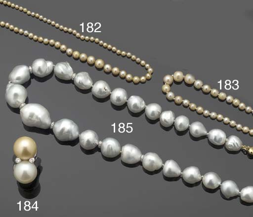 A GRADUATED PEARL NECKLACE TO