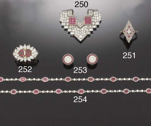 A RUBY AND DIAMOND LONG NECKLA