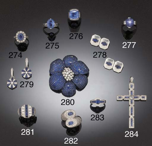 A DIAMOND AND SQUARE CUT SAPPH