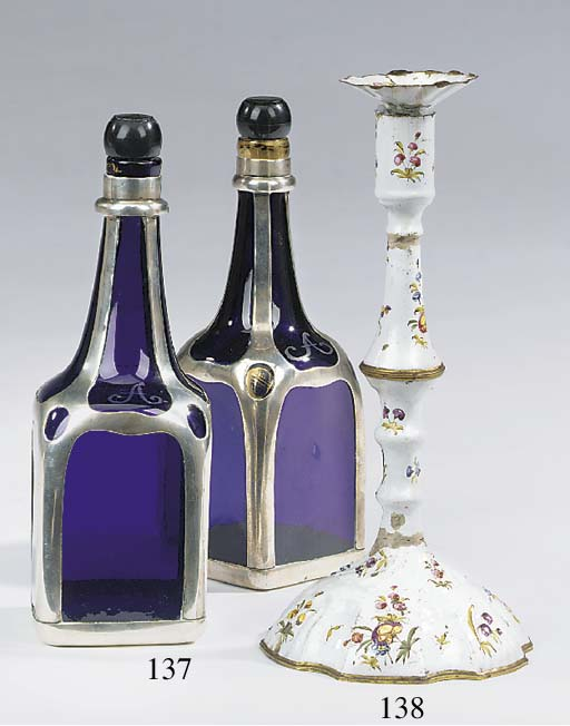 A pair of English enamel candl