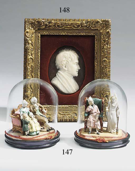 A Victorian wax profile portra