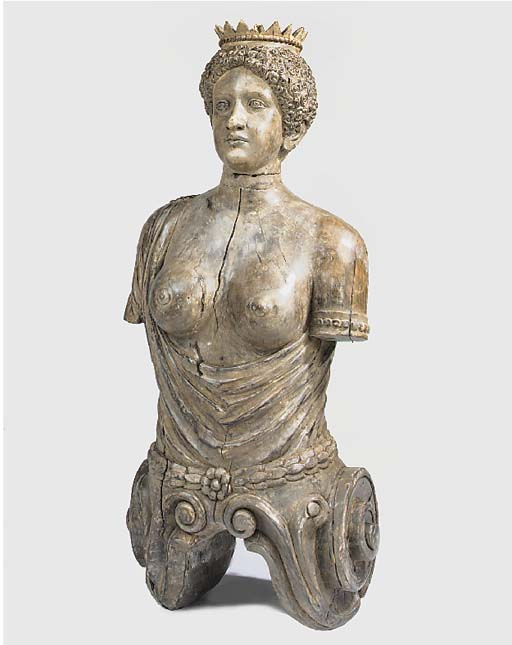 A carved wood female term, 20t