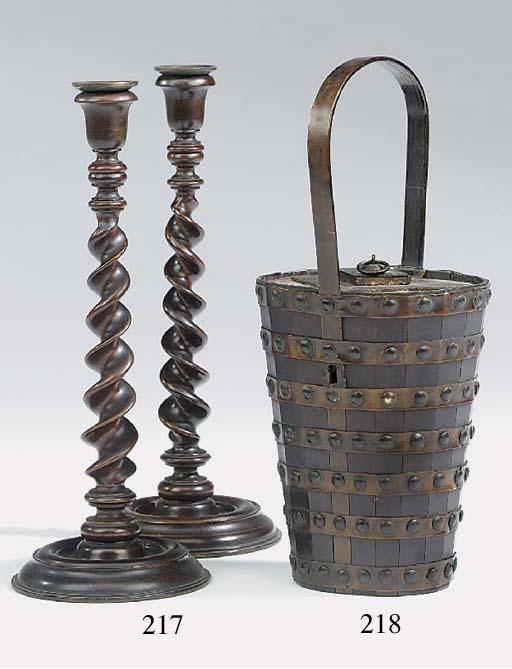 A pair of mahogany barley-twis