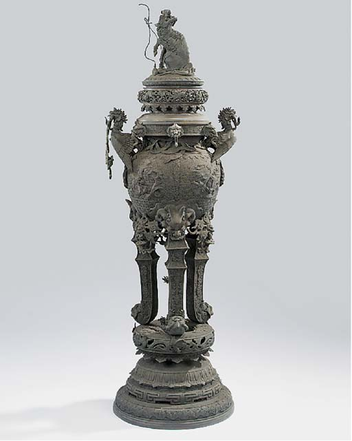 A Chinese cast bronze charcoal