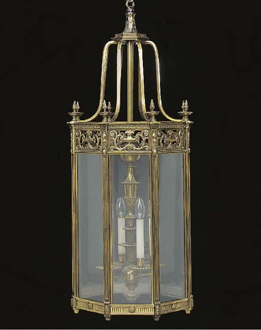A polished brass octagonal lan