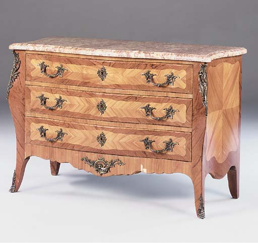 AN ORMOLU MOUNTED KINGWOOD AND