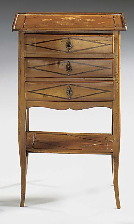 A French mahogany three tier o