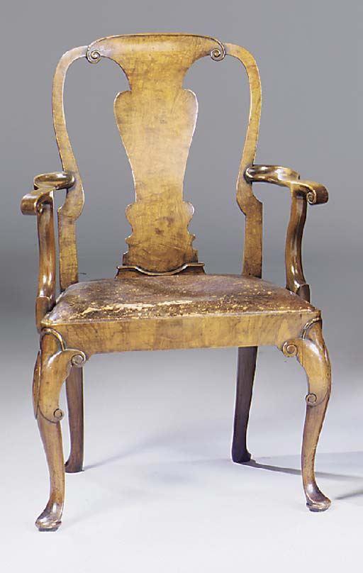 A walnut open armchair, early