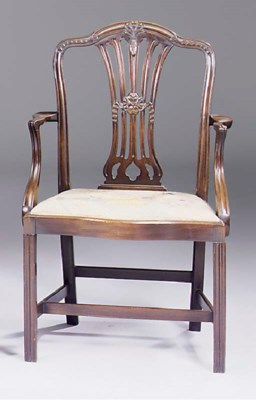 A mahogany open armchair, late