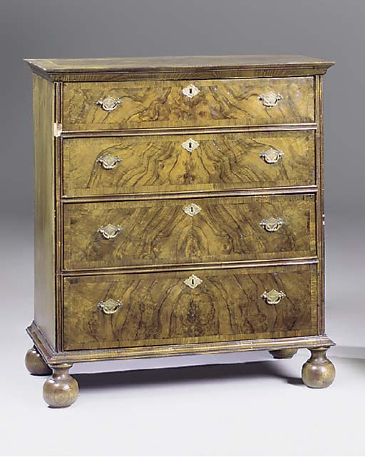 A walnut chest of drawers, 20t