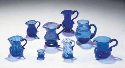 A quantity of blue glass