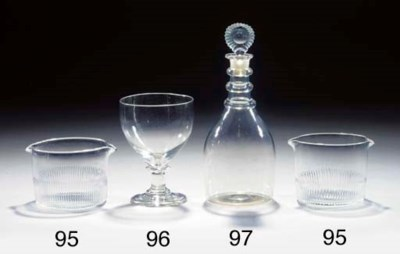 Two mallet-shaped decanters an