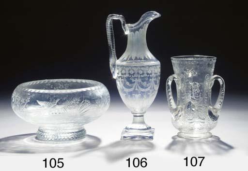 An engraved glass jug