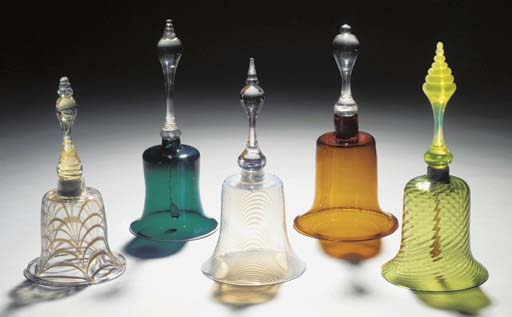 Five coloured table bells