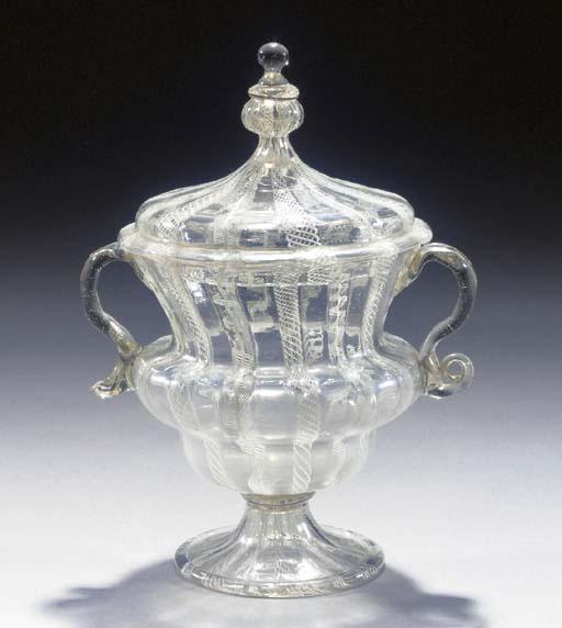 A latticinio vase and cover