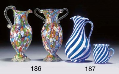 A French blue and white ewer a