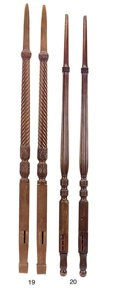 A pair of mahogany bedposts, 1