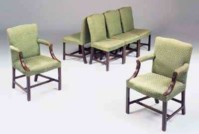 A set of eight mahogany and up