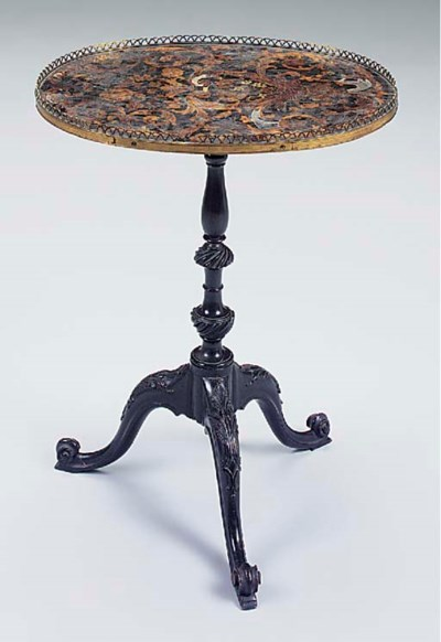 A MARQUETRY EBONISED OCCASIONA