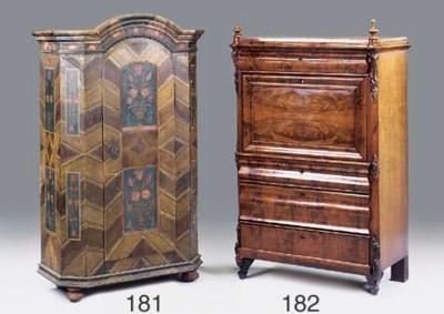 A German mahogany secretaire a
