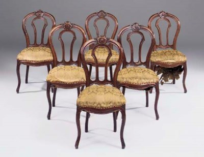 A set of six French mahogany d