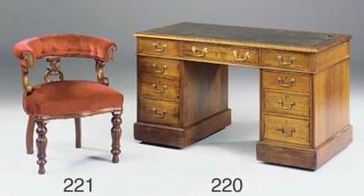 A walnut pedestal desk, late 1