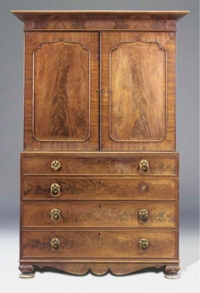 A George IV mahogany linen pre