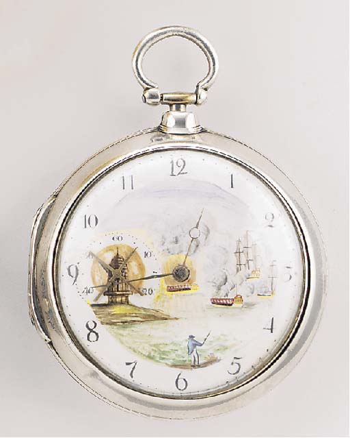 A SILVER PAIR CASED AUTOMATON VERGE POCKET WATCH signed Geo. Harrington, London, no.1166, 1799.