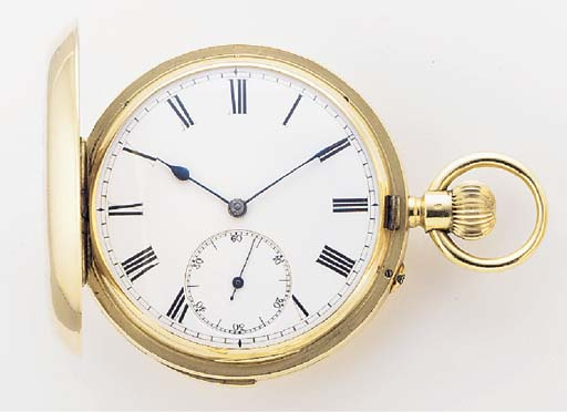 AN 18ct. GOLD HUNTING CASED MINUTE REPEATING KEYLESS LEVER POCKET WATCH Swiss, signed Harris & Co., Kimberley & Johannesburg, no.46629, circa 1890.