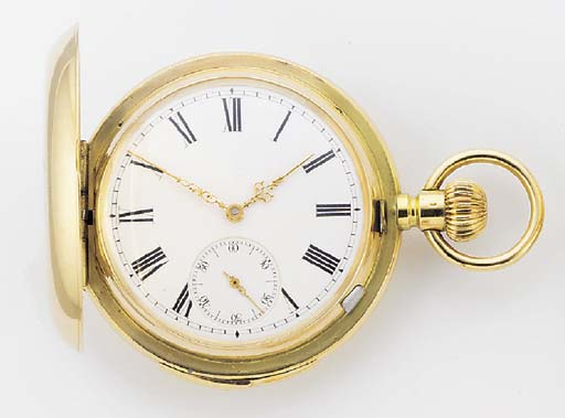AN 18ct. GOLD HUNTING CASED QUARTER REPEATING KEYLESS LEVER POCKET WATCH Swiss, circa 1910.