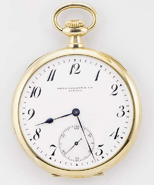 PATEK PHILIPPE, A 14ct. GOLD OPEN FACED KEYLESS LEVER POCKET WATCH signed Patek Philippe & Cie, Geneve, no.165537, 1910-15.