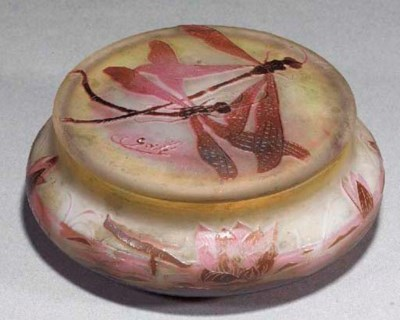 A Gallé cameo glass bowl and c
