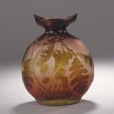 A Gallé cameo glass flask vase