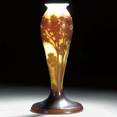 A Gallé cameo glass lampbase