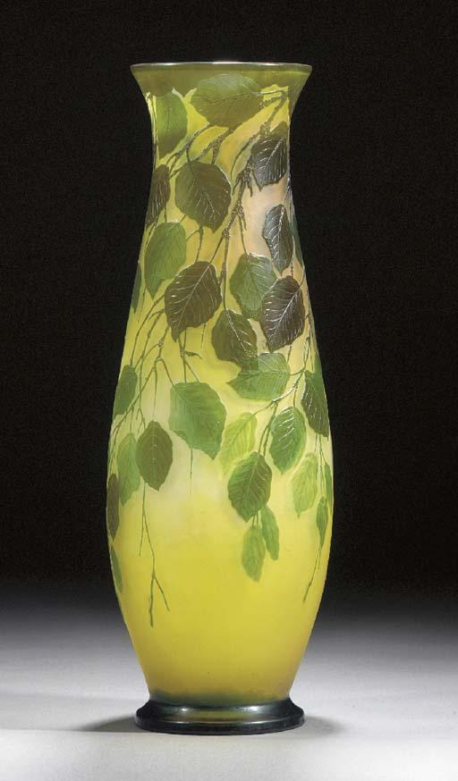 A large Gallé cameo glass vase