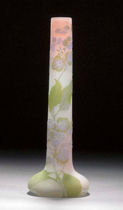 A Gallé cameo glass tube vase