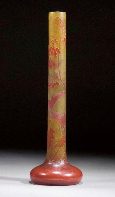 A large Gallé cameo glass tube