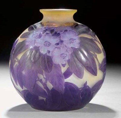 A Gallé mould-blown glass vase