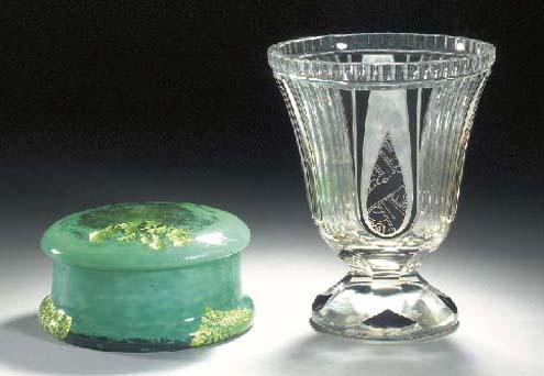 A Daum glass box and cover