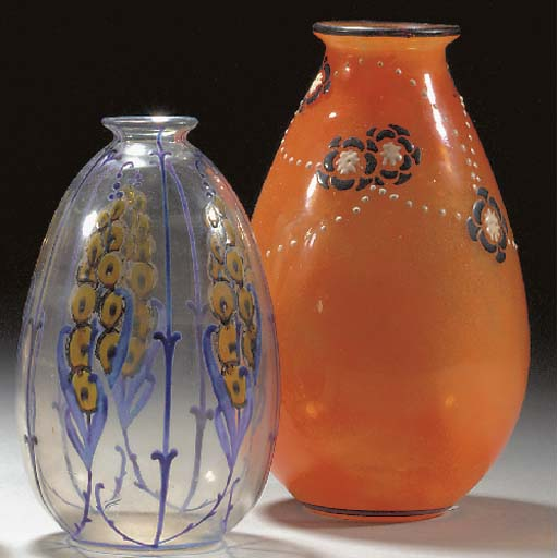 A MARCEL GOUPY ENAMELLED GLASS