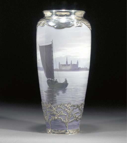 A Royal Copenhagen porcelain 'Kronberg' vase