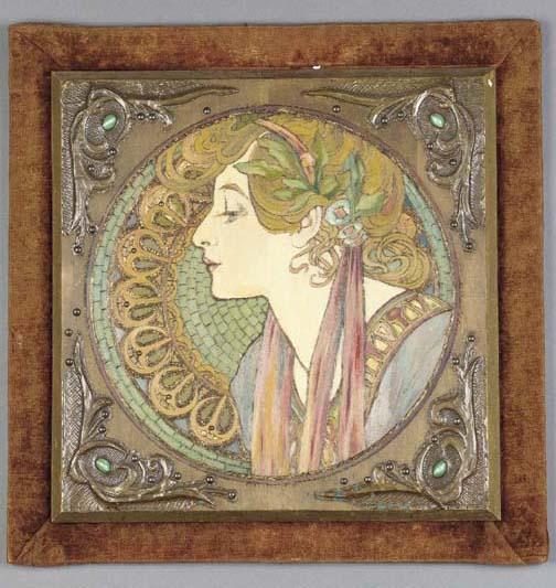 A pair of Art Nouveau painted