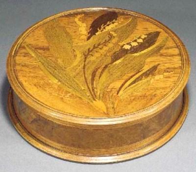 A Gallé circular marquetry box