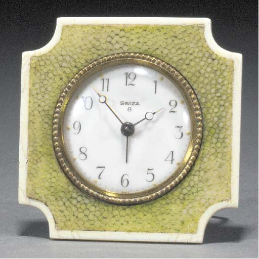 A shagreen and ivory alarm clo