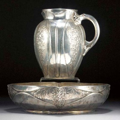 A Gallia white metal jug and b