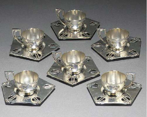 Six WMF silvered metal Turkish